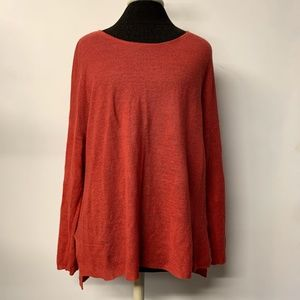 Eileen Fisher Coral Organic Linen Slouchy Knit Top
